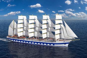 Die FLYING CLIPPER wird das größte Segel-Kreuzfahrtschiff der Welt (Grafik: Star Clippers Cruises)
