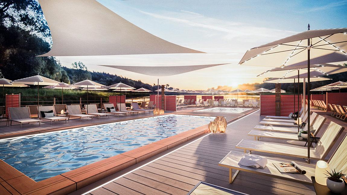 Die A-ROSA SENA wird einen großen Poolbereich an Deck haben (Grafik: A-ROSA)